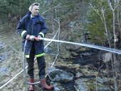 Arbeidet med å slukke brannen var tidkrevende og tungt. (Foto: Odd Rømteland, NRK Sørlandet).