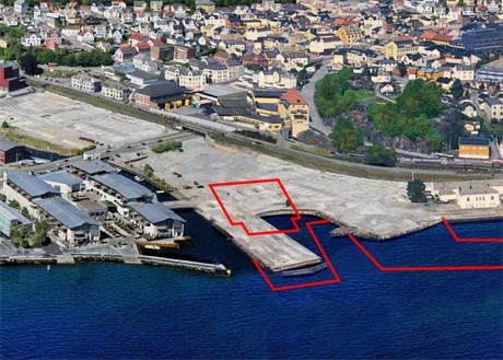 Her, ved Fritzøe Brygge, skal kulturhuset Bølgen etter planen ligge.