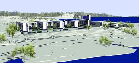 Skisser av det nye sykehuset på Gullaug, Sykehuset Buskerud. Skisse: Sykehuset Buskerud.