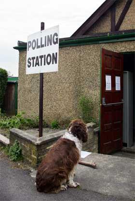Britene går til valgurnen i dag, men ikke alle familiemedlemmer har stemmerett. Her ventes det utenfor et valglokale i Gunnersby vest i London. (Foto: AFP/Scanpix)