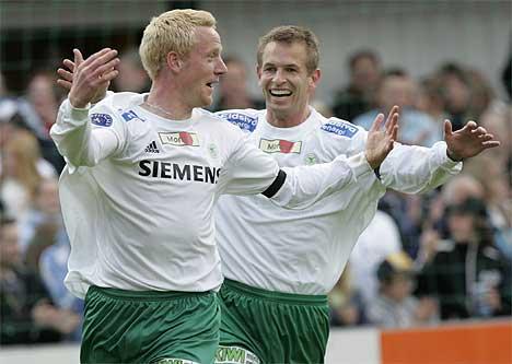 Ham-Kams Espen Olsen og Espen Haug kan juble etter å ha tatt ledelsen 1-0 over FFK (Foto: Cornelius Poppe /SCANPIX)