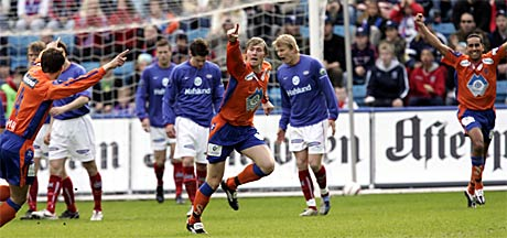 AaFKs Haraldur Frey Gudmundson jublet etter 0-1-scoring i tredje spilleminutt på Ullevaal. Det skulle bli med det ene målet for Aalesund. (Foto: Tor Richardsen/Scanpix)