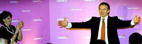 Blair er den første Labour-statsministeren som har klart tre valg på rad. (Foto: Scanpix/AP)