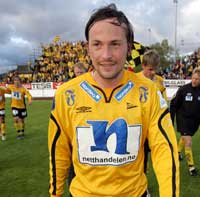 Starts Stefan Bärlin scoret to mål da Start knuste Odd Grenland 4-0 på Kristiansand Stadion søndag kveld. Foto: Håkon Mosvold Larsen / SCANPIX