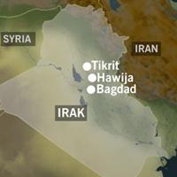 Flere irakiske byer ble utsatt for kraftige bombeangrep i dag. (Grafikk NRK)