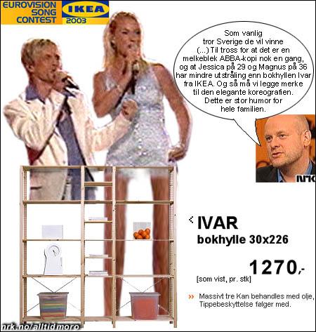 - Jessica på 29 og Magnus på 36 har mindre utstråling enn bokhyllen Ivar fra IKEA. Slik presenterte kommentator Jostein Pedersen Sveriges bidrag i 2003.