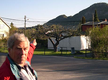 Bernt Lie var vitne til helikoptersyrten. Her peker han på den lille toppen nedenfor Kolsåstoppen hvor helikopteret traff. Foto: Eirik Flugstad, NRK