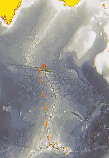 Kartet viser det store området seihvalene vandret over nordover i Atlanteren, fra Azorene til Charlie Gobbs F.Z. Vi ser Grønland øverst til venstre, Island øverst til høyre. Ill.: Erik Olsen, IMR