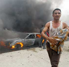 Flere titalls mennesker er skadd i eksplosjonen. (Foto: AFP/Scanpix)