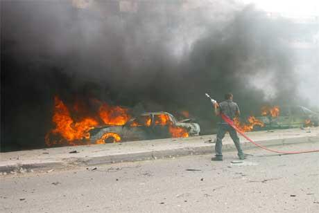 Eksplosjonen skjedde i et sjiamuslimsk distrikt øst i Bagdad. (Foto: AFP/Scanpix)