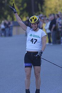 Marit Bjørgen vant på asfalt i Mysen. Foto: Høytorp fort skiteam.