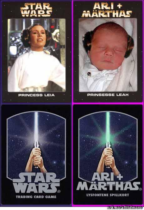 Mai 2005: Ari og Märthas nye samlekort likner på de som ble laget for Star Wars på slutten av 70-tallet. Under: Kortenes bakside. (Alltid Moro, etter en ide av Vidar Hagen.)