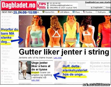 Schizofrent om slanking: Dagbladets nettforside 24/4 05. En personlighetsspaltet avis? (Innsendt av B.N.)