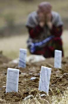 NUMMERERTE GRAVER: Små nummererte plaketter markerer anonyme graver på en kirkegård ved Andisjan i Usbekistan. (Foto: AP)