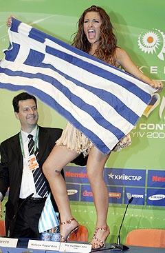 Helena Paparizou og Hellas vant lørdagens Eurosongfinale. Foto: Natalya Borzova, AP Photo / Scanpix.