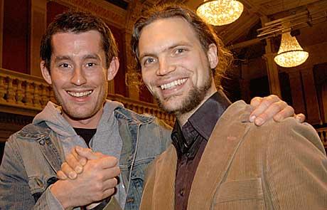 Operakometen Johannes Weisser og slagverker Håkon Mørch Stene vant Intro-klassisk under Festspillene 2005. Foto: Trygve Schonfelder, Rikskonsertene / NRK.