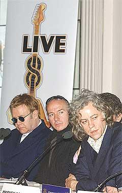 Sir Elton John, Midge Ure, og Bob Geldof er noen av initiativtakerne bak Live 8. Foto: Scanpix.