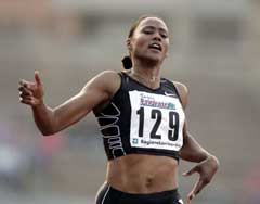 Marion Jones løp inn til 2. plass i Milano. (Foto. AP/Scanpix)