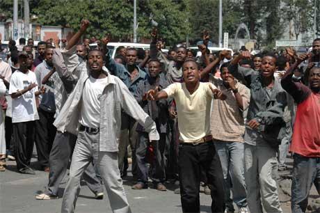 Etiopiske studenter demonstrerer i Addis Abeba.(Foto:AP/Scanpix)
