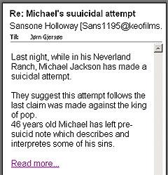 Undertegnede mottok også tilbud om å lese Michael Jacksons angivelige selvmordsbrev.