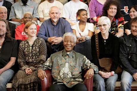 Mandela-artistene var samlet til pressekonferanse lørdag i forkant av konserten. (Foto: 46664 Arctic)