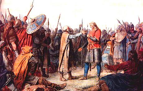 Olav 1 Tryggvason krones til konge på Øreting i 995. Ilustrasjon: Peter Nicolai Arbo, ca. 1860.