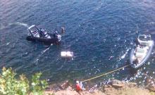 Ubåten ble tatt i bruk onsdag og skal søke etter biler som er dumpet i Mjøsa.(Foto:NRK)