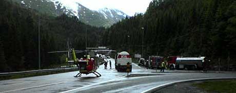 Ulykken skjedde i krysset mellom Rv13 og E134. Foto: Egil Torheim/ NRK.