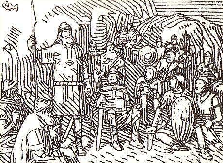 Olav den hellige taler til bøndene i Trondheimen. Illustrasjon: Gerhard Munthe