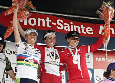 Gunn-Rita Dahle, Marie Helene Premont og Sabine Spitz, verdenscup i Canada. Foto: Jacques Boissinot/AP
