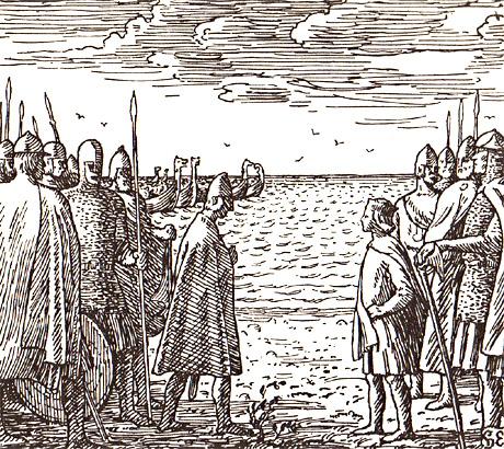Magnus møter Horda-Knut av Danmark. Illustrasjon: Halfdan Egedius