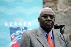 IAAF-president Lamine Diack var tilstede da Bislet Games gikk i Bergen i fjor. (Foto: Bjørn Erik Larsen / SCANPIX)