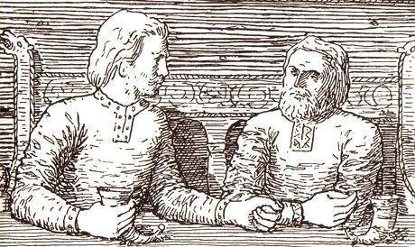 Harald Hardråde taler og drikker med Svein. Illustrasjon: Wilhelm Wetlesen
