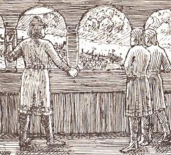 Kong Harald ser fra svalgangen Einar Tambarskjelves folk gå opp fra skipene. Illustrasjon: Wilhelm Wetlesen