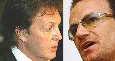 Bono fra U2 og Paul McCartney åpnet konserten i London sammen.Foto: Scanpix.