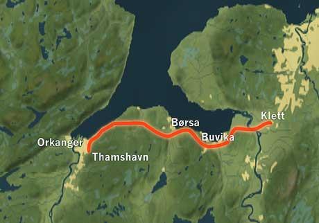 Her er traseen til nye E39 mellom Øysand og Orkanger. (Grafikk: NRK)