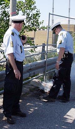 Politiet i Roskilde har hatt en travel start på årets festival. Foto: Arne Kristian Gansmo, NRK.
