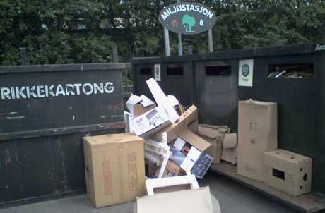 Ved flere av miljøstasjonene i Halden setter folk fra seg søppelet sitt ved containerne. Ill. foto: Rainer Prang, NRK.