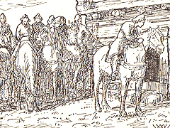Kong Sigurd lytter til kvinnesang utenfor huset til Tora. Illustrasjon: Wilhelm Wetlesen