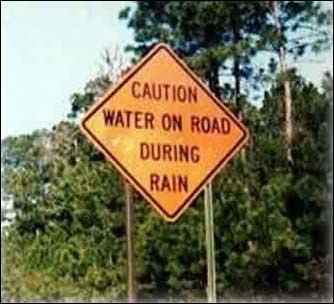 Husk: Veien blir våt når det regner.
