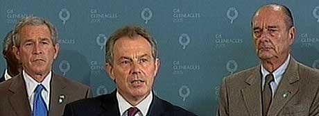 USAs president George W. Bush, statsminister Tony Blair og Frankrikes president Jaques Chirac er