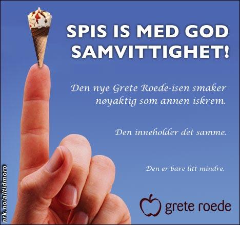 Grete Roede lanserer is i fingerbøl-størrelse. (Alltid Moro)