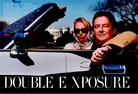 Faksimile av eit oppslag i vekebladet Vanity Fair om Valerie Plame og mannen Joseph Wilson. (Scanpix)