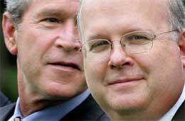 Vil Bush holde Rove inne i varmen, eller må han se seg om etter nye støttespillere? (Foto: Scanpix/AP/P. Edmonds)