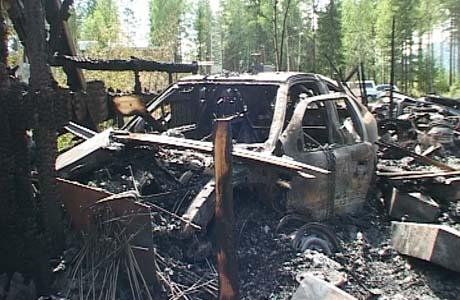 Verkstedet ble totalskadd i brannen. Foto: Anette Skafjeld, NRK.