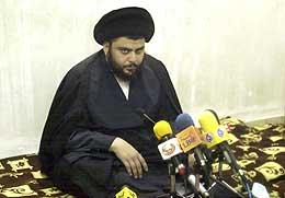 Al-Sadr snakker til mediene (Scanpix/AP)