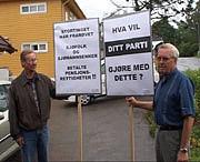 Leif Olaf Jørnsen t.v. og aksjonsleder Tore Løken i Tønsberg-gruppen mot nedbygging av Sjømannspensjon. Foto: Nils Mehren.