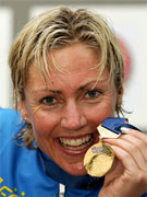 Gunn Rita Dahle ble Europamester i Kluisbergen 31/7 - 2005. Foto: Reuters/Scanpix