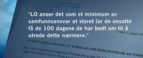LOs krav til ledelsen i Norske Skog (Grafikk:NRK).