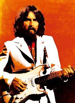 George Harrison fotografert i forbindelse med støttearrangementet han arrangerte for Bangladesh i New York i 1971. Nå kommer dvd fra konserten, og nyutgivelse av platen. Foto: Reuters / Scanpix.